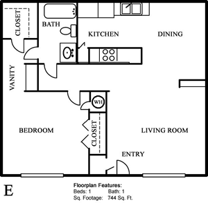 Plan E - One Bedroom / One Bath - 744 Sq. Ft.*