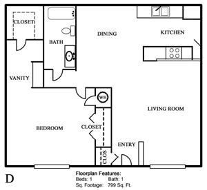 Plan D - One Bedroom / One Bath - 799 Sq. Ft.*