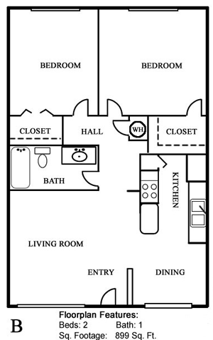 Plan B - Two Bedroom / One Bath - 899 Sq. Ft.*