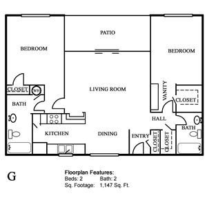 Plan G - Two Bedroom / Two Bath - 1,147 Sq. Ft.*