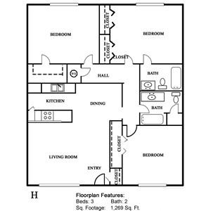 Plan H - Three Bedroom / Two Bath - 1,269 Sq. Ft.*